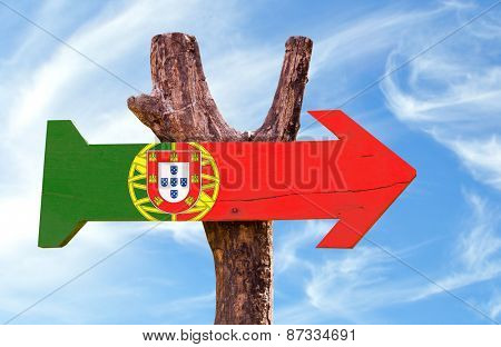 Portugal Flag sign with sky background