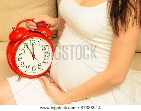 Pregnant Woman Holding Alarm Clock