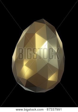 Low poly Easter egg in gold color