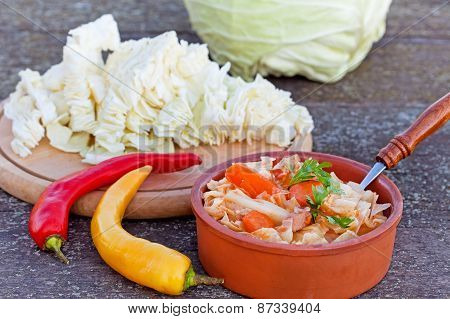 Russian cabbage soup with meat