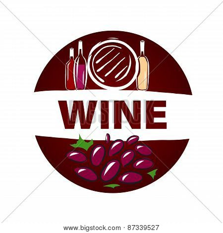 Round Vector Icon Barrel And Bottle Of Wine