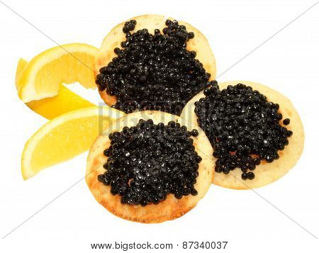 Caviar On Blini Pancakes