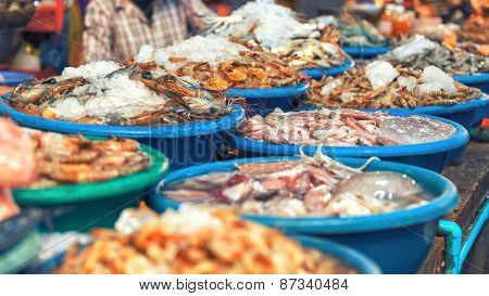 Traditional asian fish market