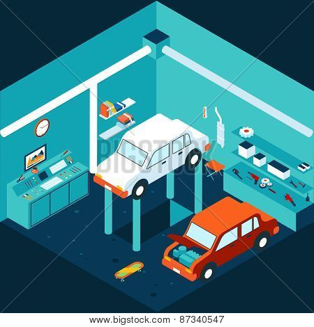 Isometric 3d garage car repair