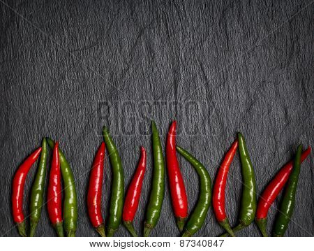 Frame Of Red And Green Chile Pepper