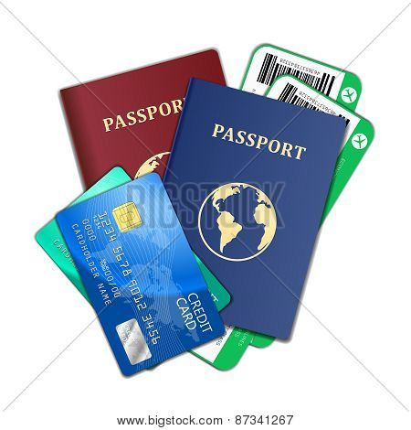 Travel and tourism concept. Air tickets, passports, credit cards