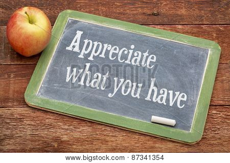 Appreciate what you have - inspirational  words on a slate blackboard against red barn wood