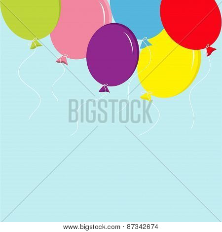 Colorful Balloon Set In The Sky Greeting Card Background Temlate Flat Design