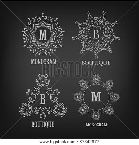Set of luxury, simple and elegant monogram designs templates wit
