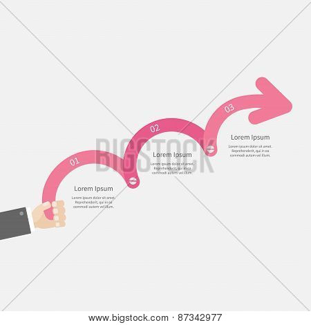 Man Hand Holding Three Step Pink Upwards Arrow With Screw Timeline Infographic And Text. Template. I