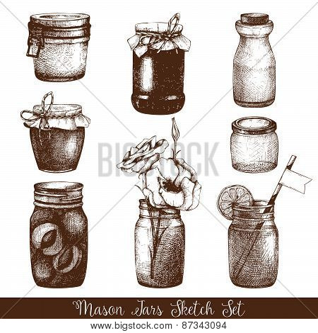 Vector collection of ink hand drawn mason jars.