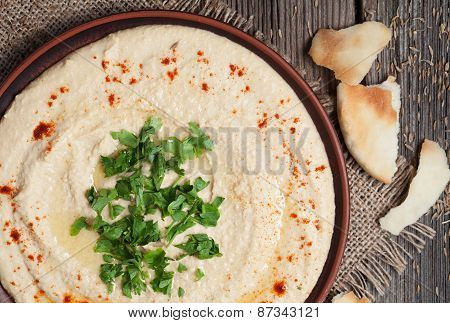 Hummus healthy dieting nutrition food, full of protein with paprika and parsley