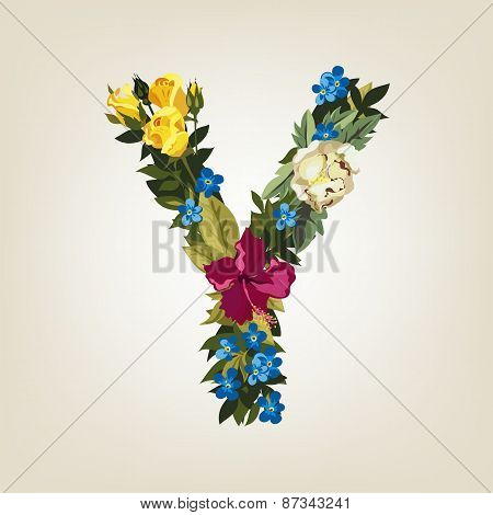 Y letter. Flower capital alphabet. Colorful font. Uppercase.