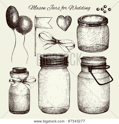 Vector collection of ink hand drawn mason jars for wedding decoration.