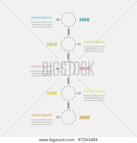 Dash Line Round Icon Timeline Vertical Infographic With Text. Template. Flat Design