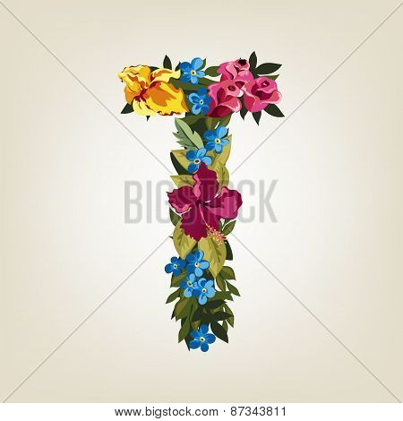 T letter. Flower capital alphabet. Colorful font. Uppercase.