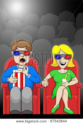Couple Is Watching A 3D Movie In A Cinema