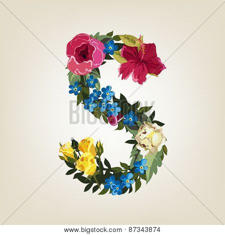 S letter. Flower capital alphabet. Colorful font. Uppercase.