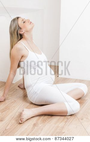 relaxing pregnant woman