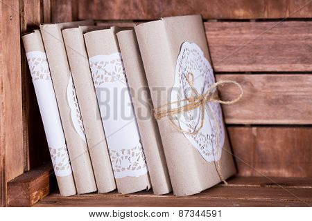 Wood Book Shelf With Vintage Book In Library