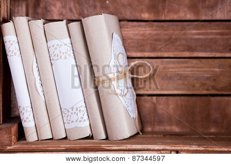 Wood Book Shelf With Vintage Book Heap