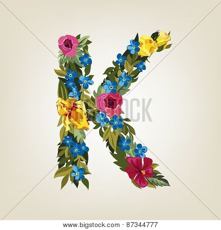 K letter. Flower capital alphabet. Colorful font. Uppercase.