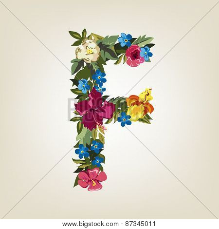 F letter. Flower capital alphabet. Colorful font. Uppercase.