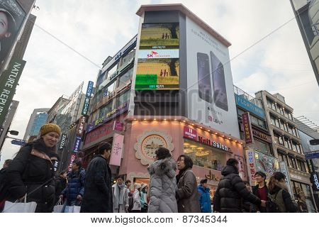 Myeongdong District ,famous Shopping Street, With Crowd People  In Seoul , South Korea.