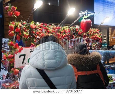 Fresh Strawberry Shop Around Myeong Market In Seoul, South Korea