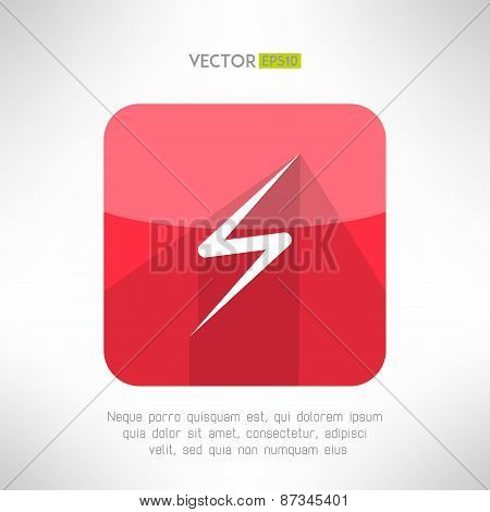 Bright lightning icon made in clean and simple modern flat design. Vector illustration.