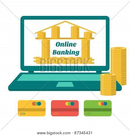 Business Concept. Online Banking. Bank Of Gold Coins On The Laptop Monitor. Flat Design.