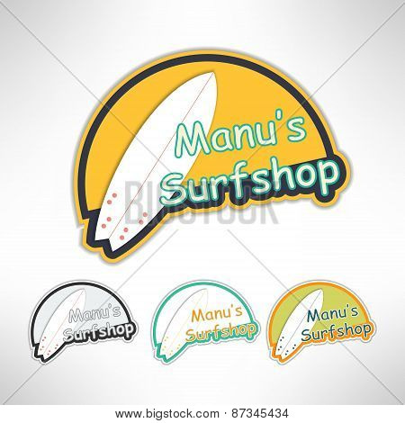 Surfboard label logo or surging shop board. T-shirt print. Surfing banner. Vector illustration