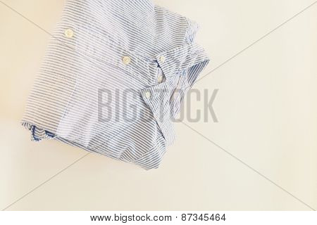 Fashion. Striped shirt in the wardrobe