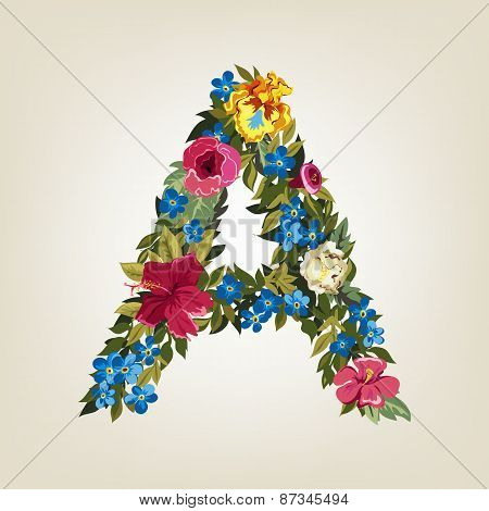 A letter. Flower capital alphabet. Colorful font. Uppercase.