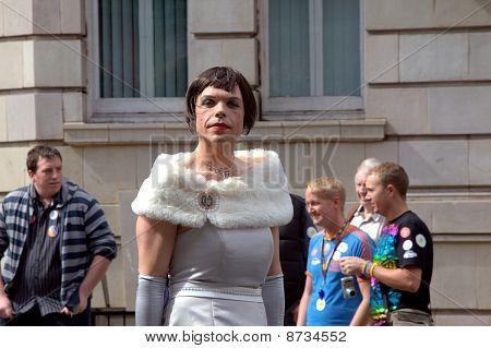 Man in diva dress at Gay Parade