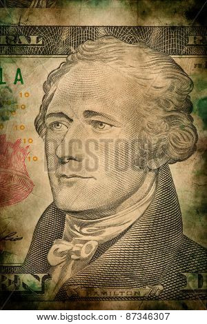 Macro Of Alexander Hamilton On Ten Usa Dollar Banknote