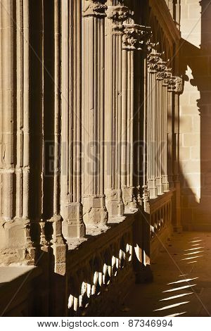 Romanesque Columns With Shadows At Sunset In Navarra, Spain