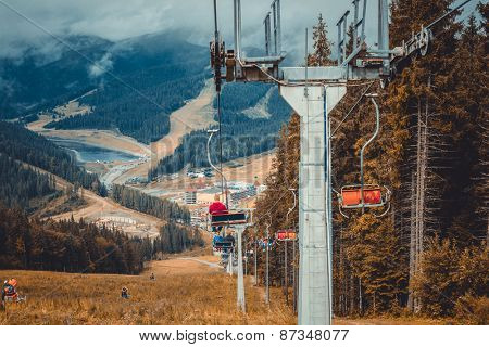 Beautiful autumn landscape in mountains Karpaty in ski resort