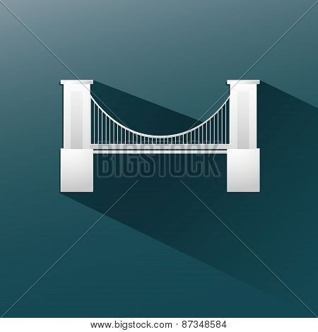 bridge in blue background, flat and shadow design