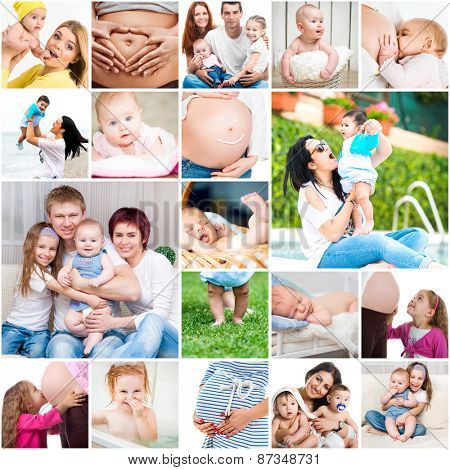 collage photos of  young parents and their children