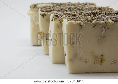 handmade soap with lavender flowers and oatmeal grains