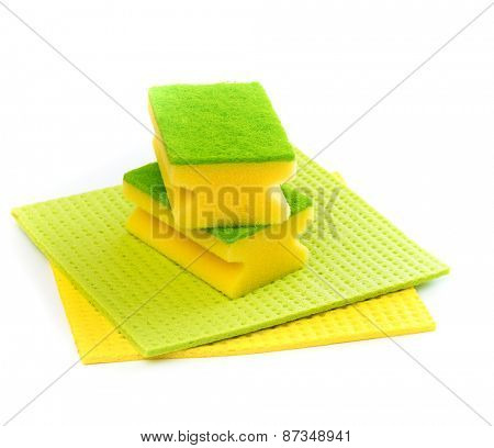 sponges for cleaning on a white background