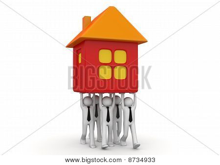 Tiny businessmen carrying house - Crowds collection