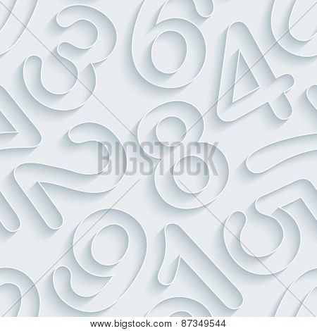 White paper with outline extrude effect. Numeral 3d seamless background. Halftone vector EPS10.