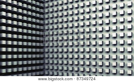 Digital Background With Small Cubes Pattern On Walls, 3D