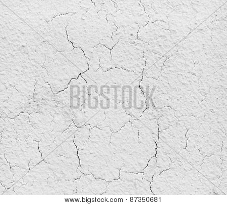 Grey Cement Wall With Cracks.