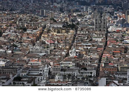 Aerial view of Quito