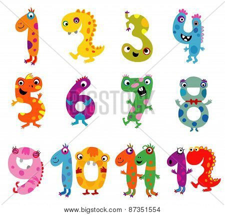 Cartoon monsters numbers