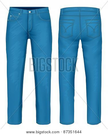 Men's blue jeans (front, back views). vector illustration