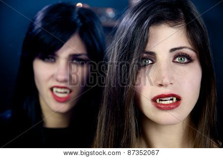 Scary Female Vampires Looking Closeup